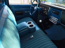 Bright Blue shortie console in a 1967 Chevy C10 pickup with bench seat. Picture submitted by Sean W.
